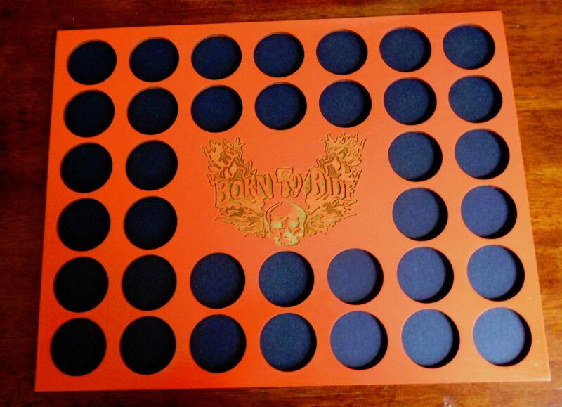 36 Orange Skull Engraved Poker Chip Display Frame Insert Fits Harley Davidson