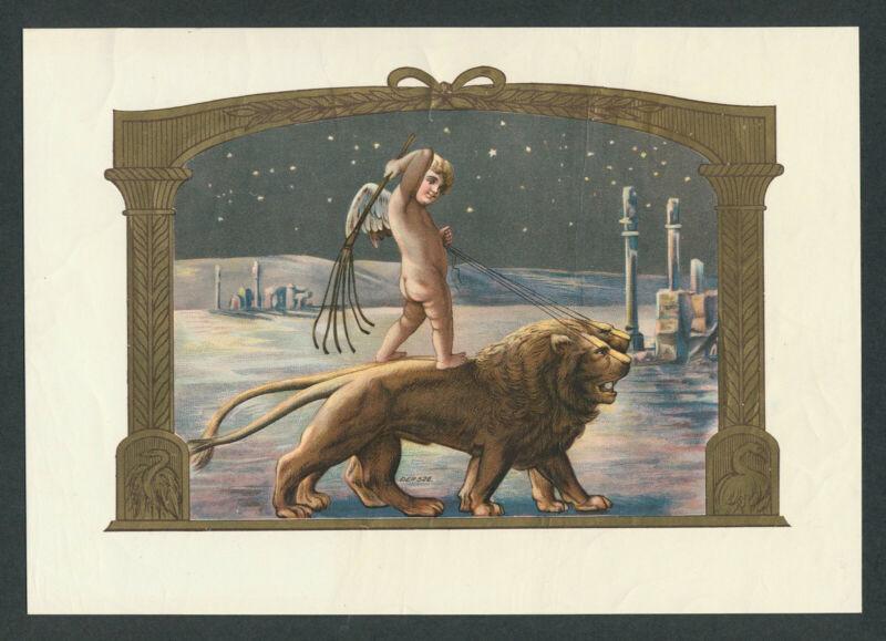 Angel, Cherubs, Lions at Ruins on Original Antique Cigar Box Label Vintage Art