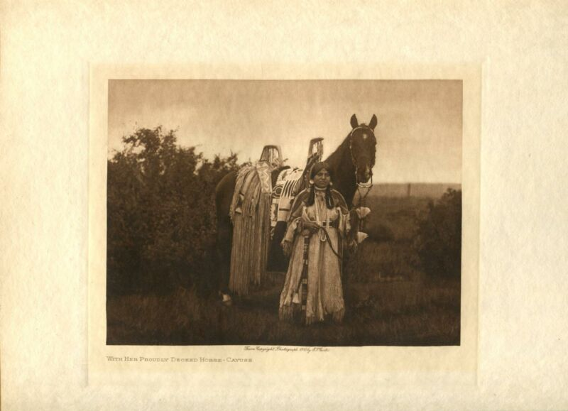 1910 Original Photogravure | Edward Curtis | With Her Proudly Decked Horse Cayus