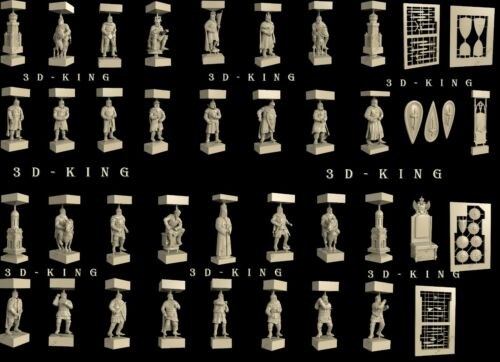 39 Pcs 3D STL Models CHESS CRUSADERS and RUSSIANS for CNC Router 3D Printer