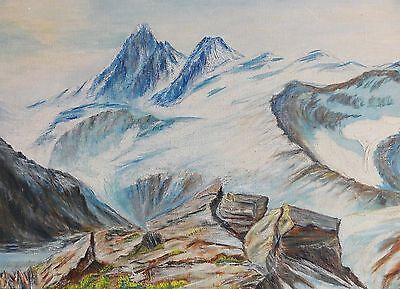 vermutlich unsigniert - Alpen-Gemälde: BERGE-GIPFEL-GLETSCHER-FELSEN-BERGSEE online kaufen
