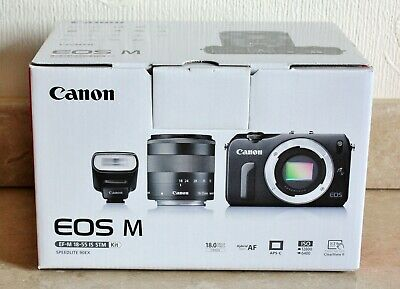 Canon EOS M 18.0MP Digital Camera - BLACK - EF-M 18-55mm f/3.5-5.6 STM Lens Kit.