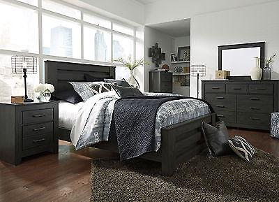 SALINAS Modern Cottage Gray 5pcs Bedroom Set Furniture w/ King Size Panel Bed