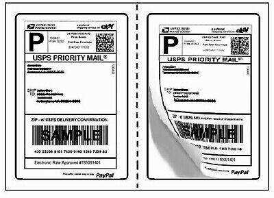Perforated Mailing Shipping Label 8.5 X 5.5 Half Sheet Adhesive Paypal Fedex