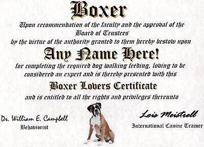 BOXER DIPLOMA-DOG LOVER OWNER CERTIFICATE- FUN  CUSTOM GAG GIFT-CUSTOMIZED NAME