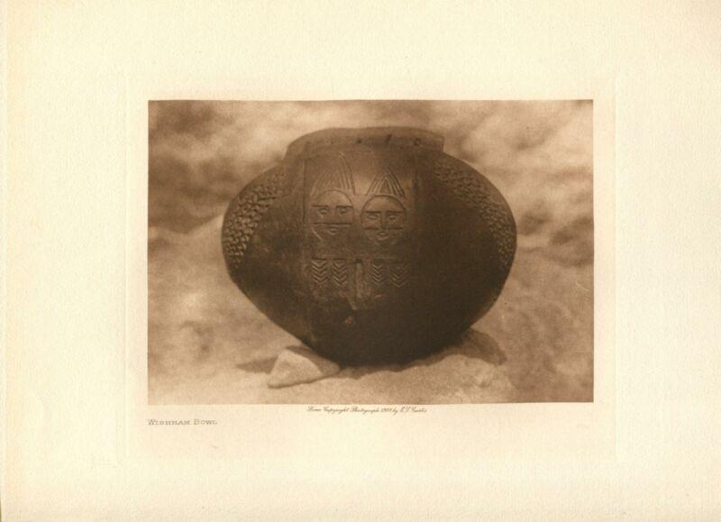 1909 Original Photogravure   Edward Curtis   Wishham Bowl
