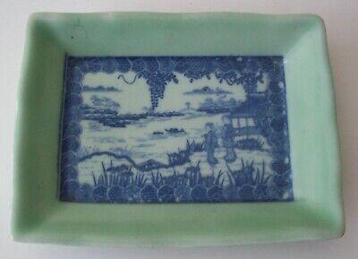 DEAL!!  18th/17th C. Rectangular Green Celadon Porcelain Dish W/ ImageTransfer