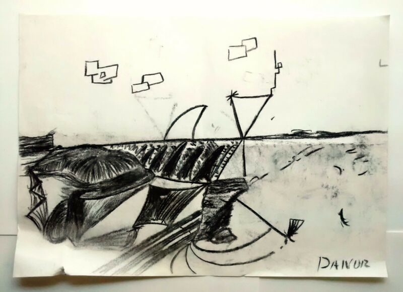 Danor Shtruzman Drawing Charcoal Sea Landscape Black White Wall Deco Awesome ART