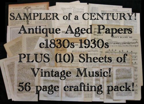 ANTIQUE Aged Old Paper:Foreign,Victorian Mags,Music~Vtg Journal Art/Craft Supply
