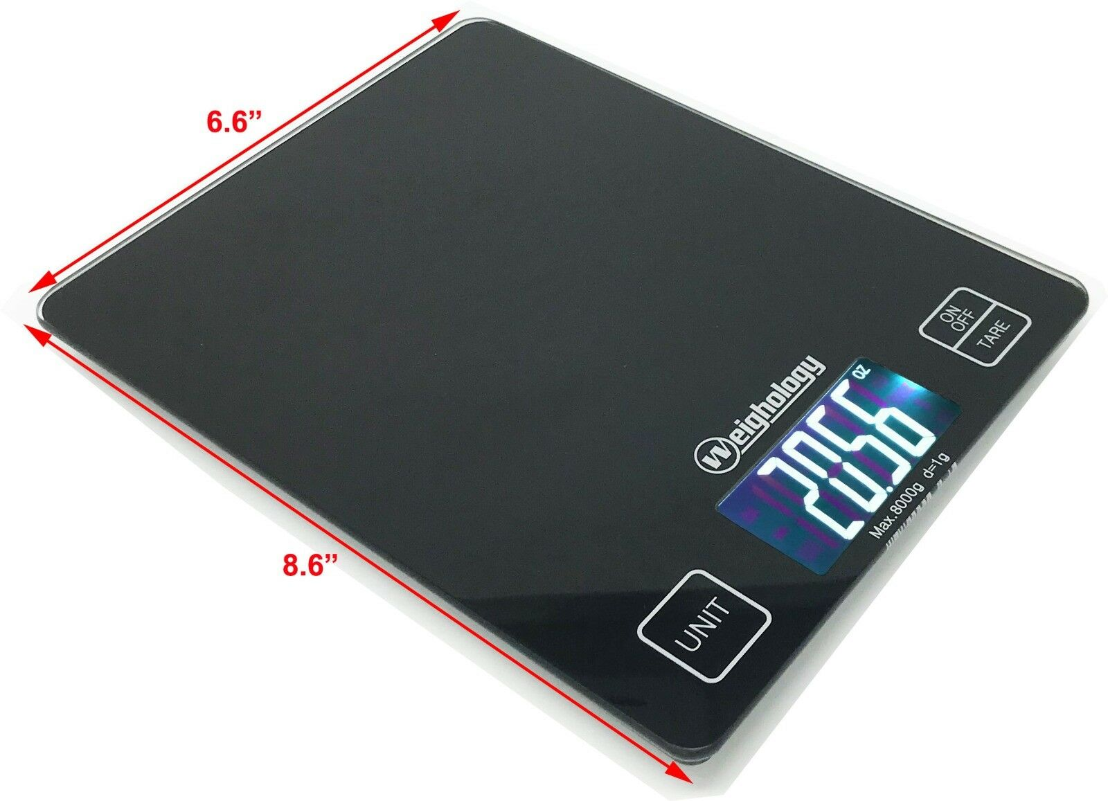 Glass Top Digital Kitchen Scale Diet Food Postal Mailing 8KG/17.6LBS x 1g