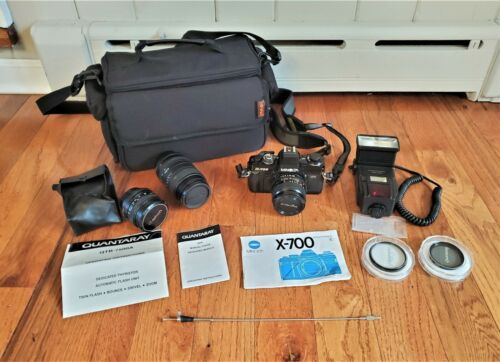 VINTAGE MINOLTA X-700 35mm FILM CAMERA WITH EXTRA LENS AND ACCESSORIES