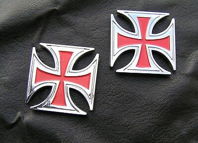(IRON CROSS PAIR BADGES RED CAR MOTORCYCLE EMBLEMS *UNIQUE* Badges Small Size)