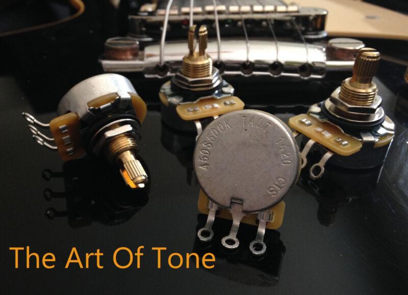 CTS 500K TAOT CUSTOM SHORT Split Shaft Audio Potentiometers Pots - SET of 4