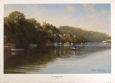 """PETER SYMONDS """"Early Morning Sunshine"""" estuary BOATS! SIZE:35cm x 54cm  RARE"""