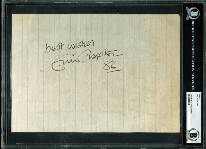 """Eric Clapton """"Best Wishes, 86"""" Authentic Signed 7x10 Sheet BAS Slabbed"""