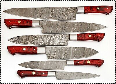 CUSTOM HAND MADE DAMASCUS BLADE 6 PCS KITCHEN KNIFE CHEF KNIFE SET 1071 - RED