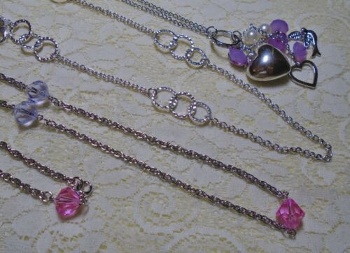 ASSORTED PINK & PURPLE LUCITE BEADED LONG SILVER TONE CHAIN NECKLACE LOT