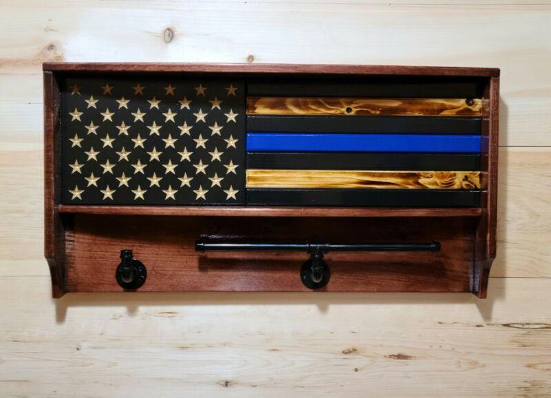 Blue Line Law Enforcement Wooden Gear Rack