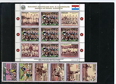 PARAGUAY 1986 SOCCER WORLD CUP MEXICO STRIP OF 6 STAMPS & SHEET MNH