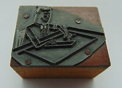 Printing Letterpress Printers Block Man At Desk Writing