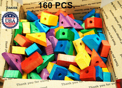 Bird Toy Parts Wooden blocks Colored wood for parrot macaw African grey amazon