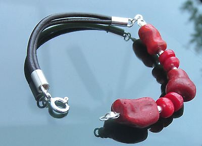 Irregular shape Red Coral Beads and Silver 925 Silver Genuine Leather Bracelet  Coral And Leather Bracelet