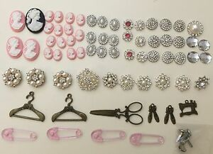 Cameos, pearls, diamantés, accents - scrapbooking craft Geebung Brisbane North East Preview