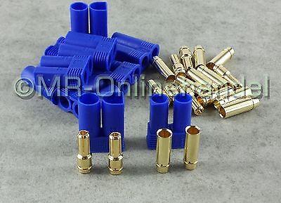 5 Paar (10 Stück) EC5 Goldstecker 5mm Gold Stecker + Buchse
