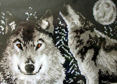 "LATCH HOOK  ANIMAL RUG CANVAS KIT ""MIDNIGHT WOLVES"""