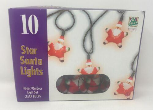 Vintage Star Santa Lights Holiday String of 10 Plastic 1996 with Box