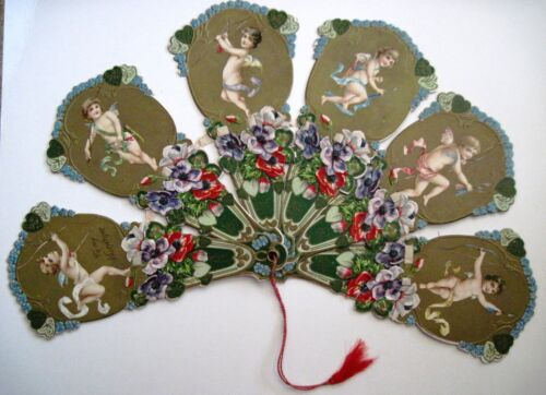 Vintage Elaborate Antique Valentine Fan w/ Six Arms of Adorable Cupids *