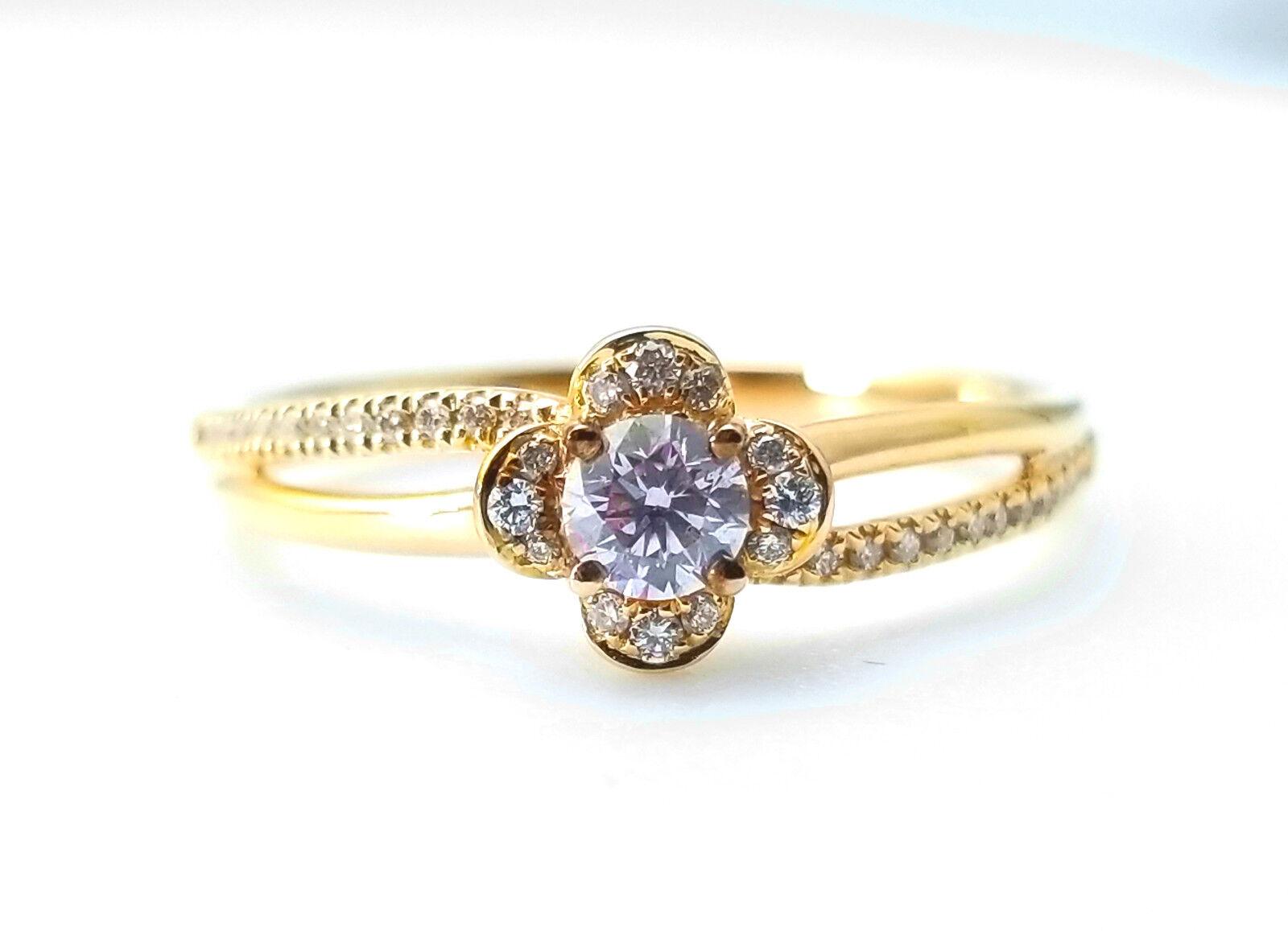 0.46ct Natural Fancy Light Pink Diamonds ARGYLE Engagement Ring GIA Round 18K VS