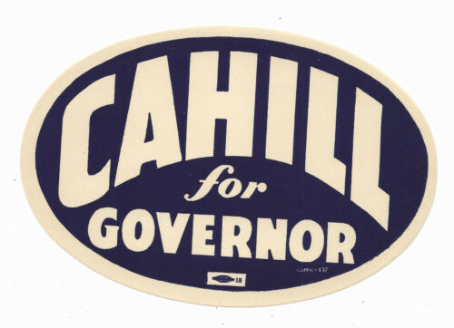 Horace Cahill Massachusetts (R) Governor candidate 1944 political window sticker