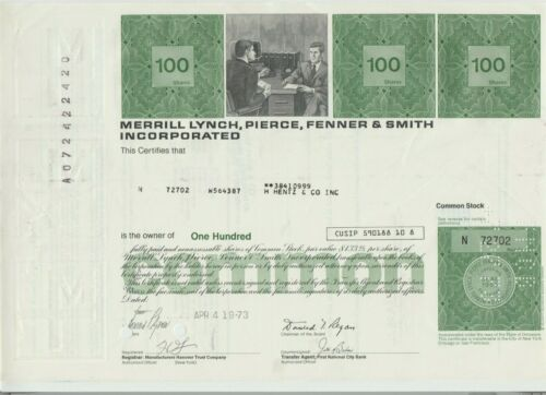 Merrill Lynch Pierce Fenner & Smith Stock Certificate Bank of America