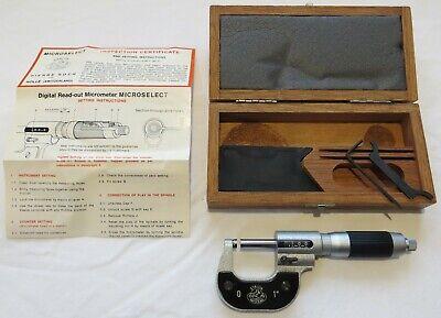 Mint Etalon 0-1 Inch Micrometer W Digital Read-out Pierre Roche Ltd Switzerland