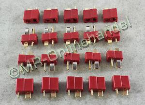 10 Paar (20 Stück) DEAN NYLON Hochstrom T-Stecker T-Plug Connector Goldstecker