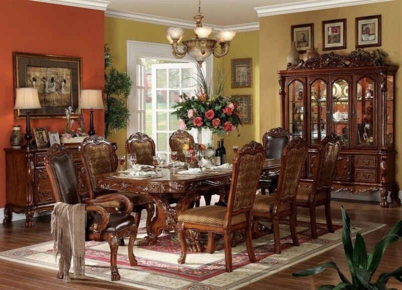 Dresden Traditional 7 Piece Formal Dining Room Set Carved Double Pedestal Table