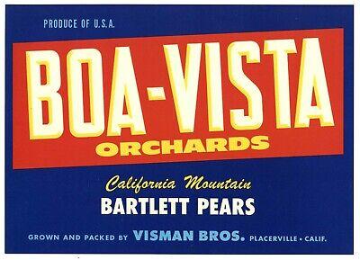 BOA-VISTA Brand, Placerville, El Dorado County **AN ORIGINAL PEAR CRATE LABEL**
