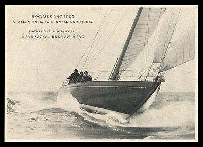 Werbung 1951  Hochsee-Yachten Yacht+Bootswerft Burmester Bremen-Burg Werft