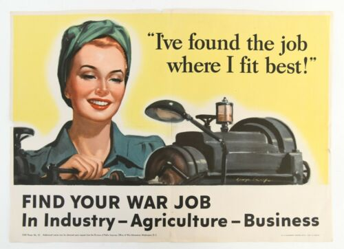 Original 1943 US WWII Poster Find Your War Job Agriculture Business