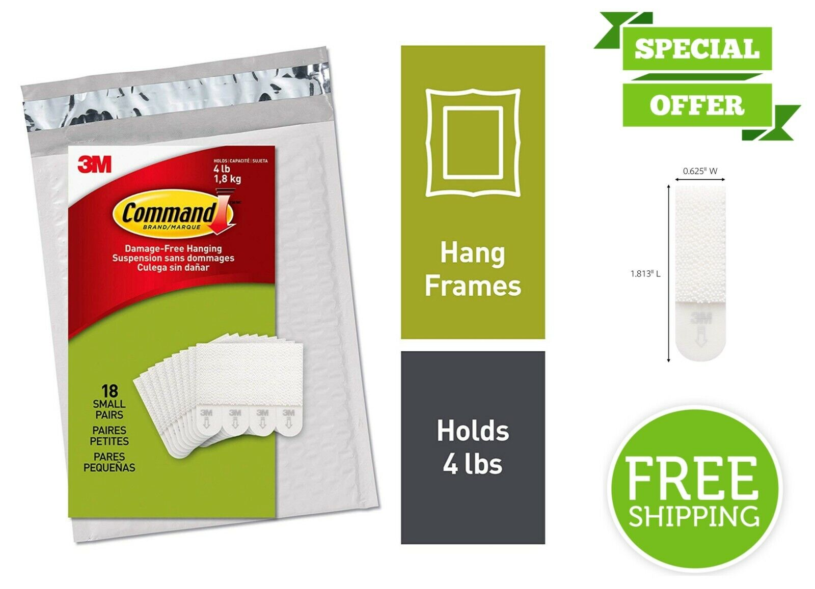 18 Pairs Command 3M Small Picture Frame Hangers Easy On Easy