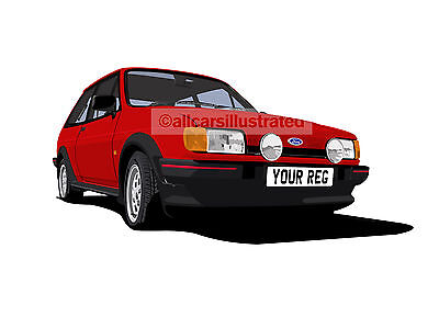 FIESTA XR2 MK2 GRAPHIC CAR ART PRINT PICTURE (SIZE A4). PERSONALISE IT!