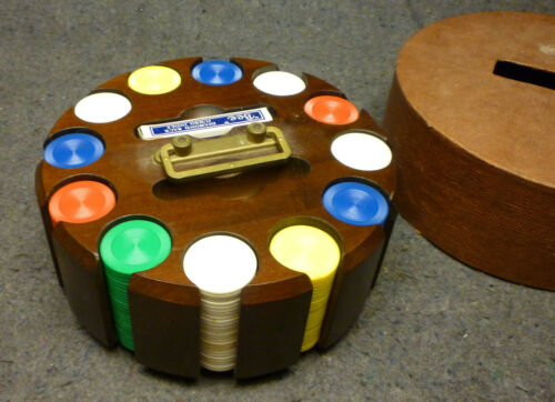 Vintage Poker Set Wooden Caddy Carousel with 12 Slots w Chips, Cards and Cover.