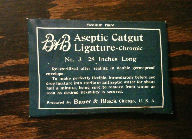"~Vintage B & B Aseptic Catgut Ligature Chromic No. 3 Original Pkg Unopened ~28""~"