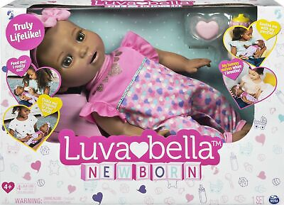 Luvabella™ Newborn Interactive Baby Doll (Brown Hair) Expression & Movement!
