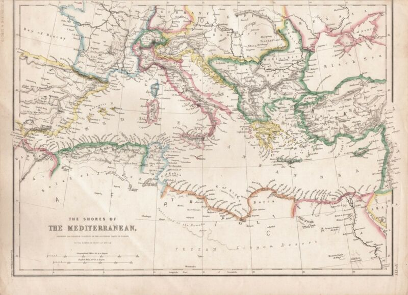 1860  LARGE ANTIQUE MAP - THE SHORES OF THE MEDITERRANEAN