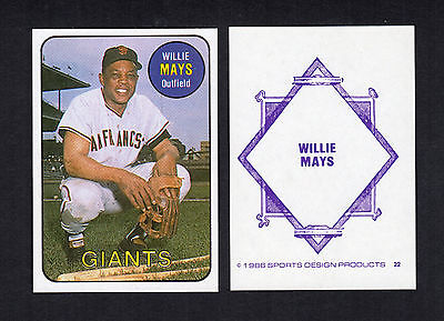 #22 WILLIE MAYS, Giants (1986 SDP/Sports Design Products) Hall of Fame HOF