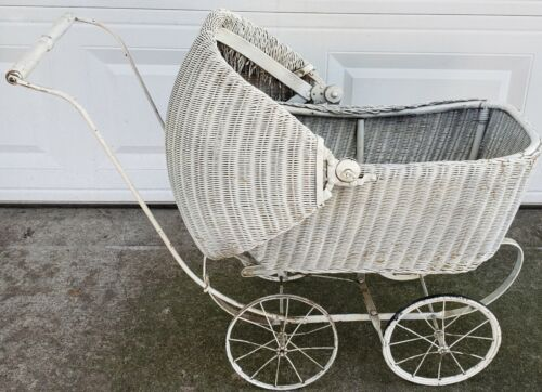 Antique Lloyd Loom Victorian  Wicker Baby Stroller,buggy Doll Carriage, hooded