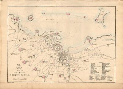 1863  LARGE ANTIQUE MAP - DISPATCH ATLAS- CITY PLAN- PORT & TOWN OF CHERBOURG