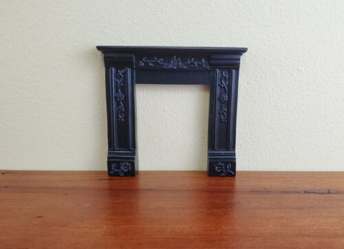 Dollhouse Miniature Fireplace Surround Victorian with Flowers Black 1:12 Scale